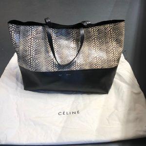 Authentic Celine black & ivory leather tote